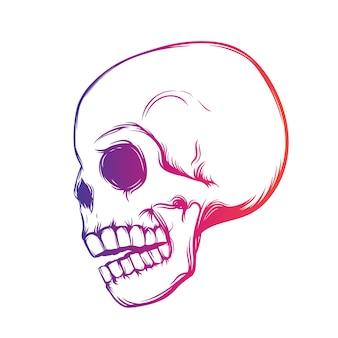Crânio, vista lateral, design de t-shirt sobre branco, ilustração vetorial