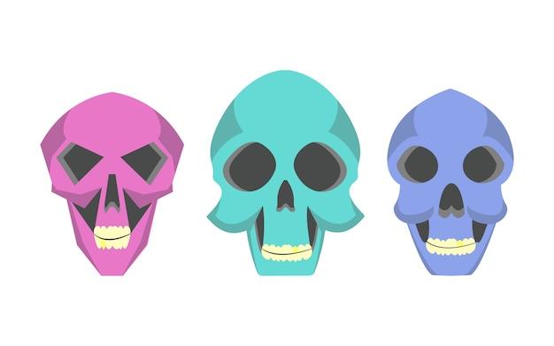 Crânios bonitos dos desenhos animados da coleção em vários estilos.