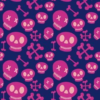 Crânios bonitos padrão de halloween com cores femininos