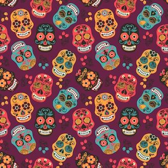 Crânios coloridos de açúcar mexicano. padrão sem costura.