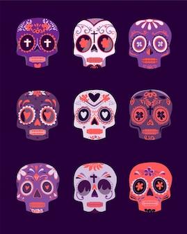 Crânios coloridos decorativos definir o dia dos mortos