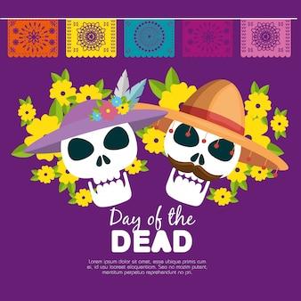 Crânios com chapéu e flores para o dia dos mortos