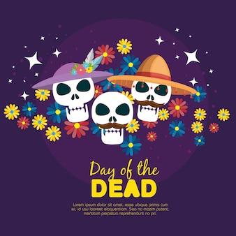 Crânios com flores para o dia do evento morto