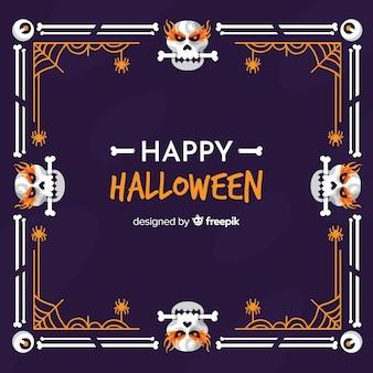 Crânios com quadro de halloween de ossos