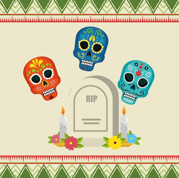 Crânios com rasgo e velas para o dia dos mortos