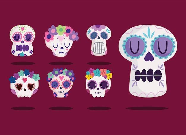 Crânios de catrinas mexicanas