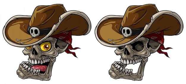 Crânios de cowboy dos desenhos animados com chapéu e bandana