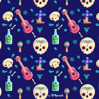 Crânios de dia de muertos plana e padrão de ukulele