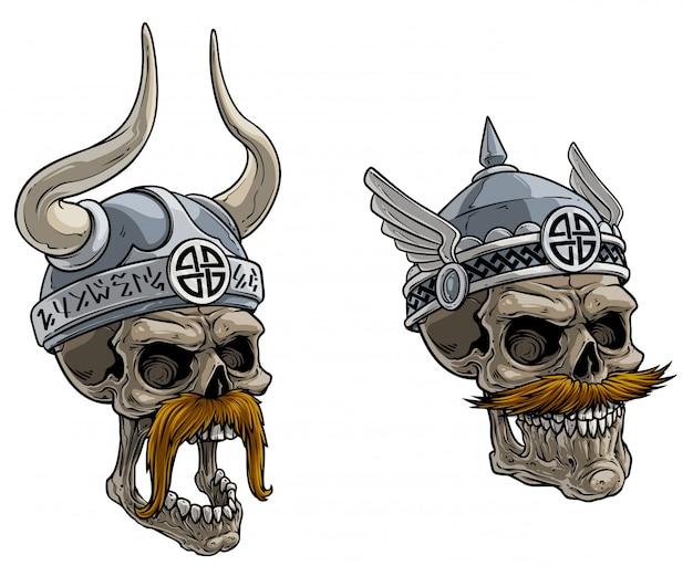 Crânios de guerreiro viking dos desenhos animados no capacete de metal