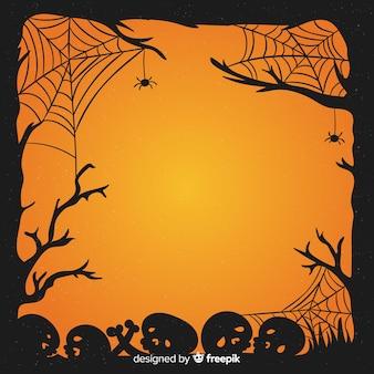 Crânios de halloween de mão desenhada e quadro de teia de aranha