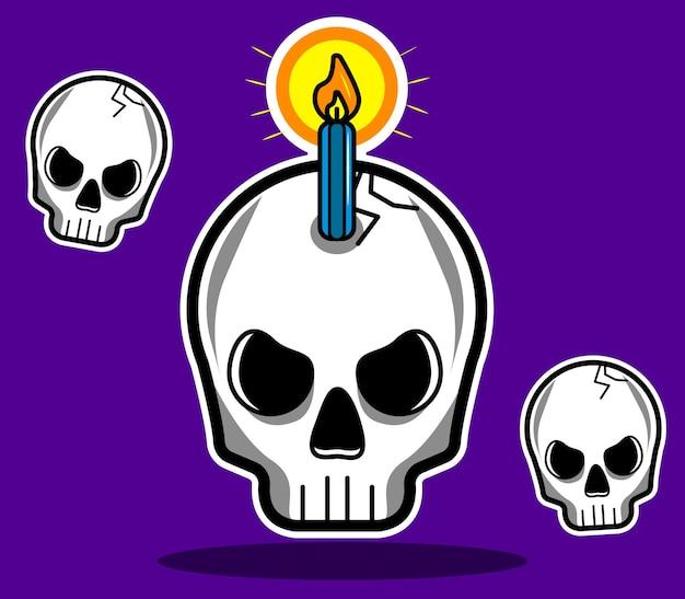 Crânios de halloween ilustrados em vetor