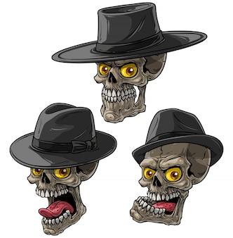 Crânios de máfia bandido dos desenhos animados com chapéu preto