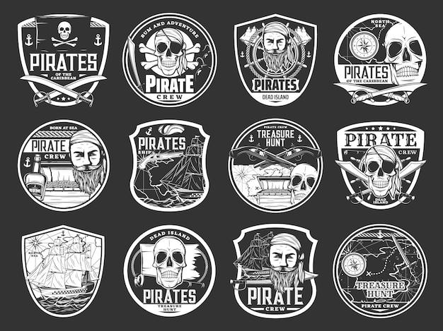 Crânios de pirata e ícones da ilha do tesouro
