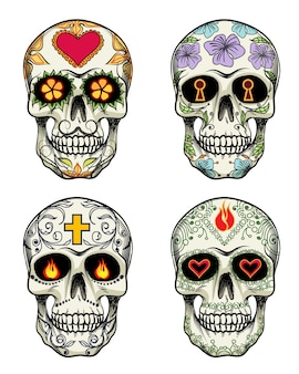 Crânios de vetor com flores para o dia dos mortos