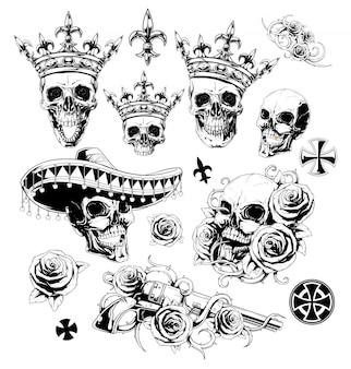 Crânios detalhados gráficos coroas rosas e conjunto de armas