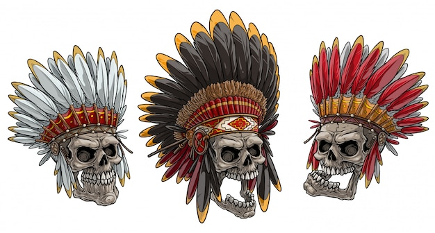 Crânios dos desenhos animados no cocar de chefe do índio americano