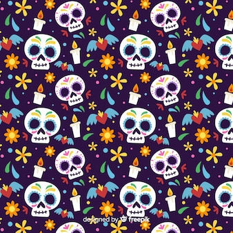 Crânios grandes plana día de muertos padrão
