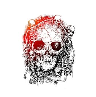 Crânios humanos em preto e branco gráficos realistas detalhados