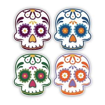 Crânios mexicanos coloridos