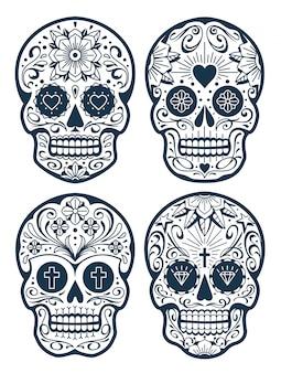Crânios mexicanos com padrões. crânios de açúcar estilo tatuagem da velha escola. coleção de crânios de vetor.