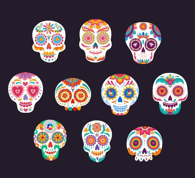 Crânios mexicanos de açúcar calavera, dia de los muertos