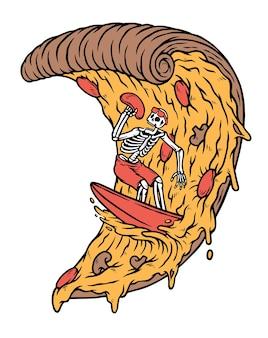 Crânios surfando no conceito de pizza isolado no branco