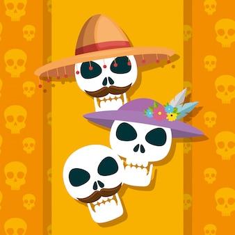 Crânios tradicionais para celebrar o dia dos mortos