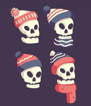 Crânios usando chapéu de papai noel
