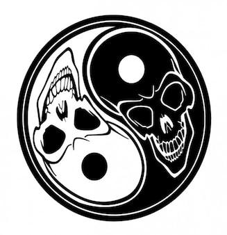 Crânios yin yang símbolo tatoo