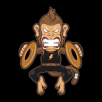 Crash de metal de macaco bater