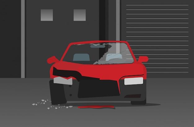 Crashed crime de carro ou acidente de automóvel na rua noite plana dos desenhos animados