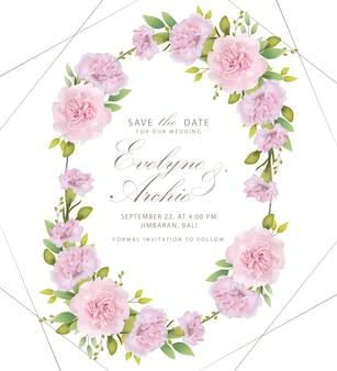 Cravos rosa floral de convite de casamento