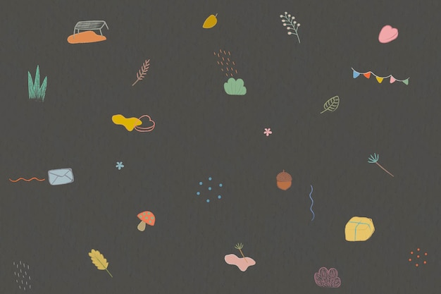 Crayon de outono rabiscando fundo estampado