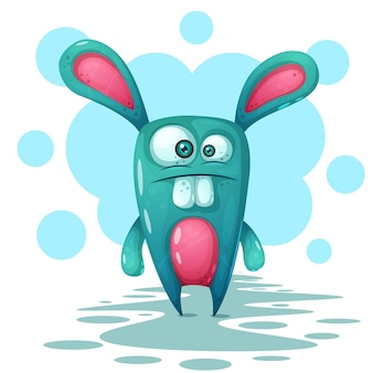 Crazy, cute, personagens de coelho funnt