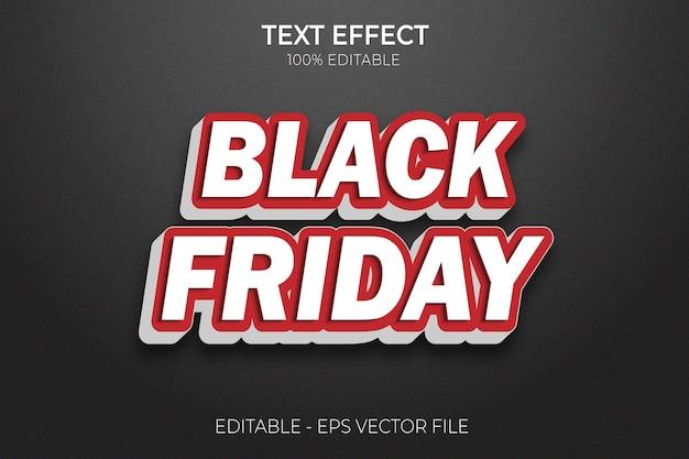 Creative 3d black friday editável em negrito com efeito de texto em vetor premium