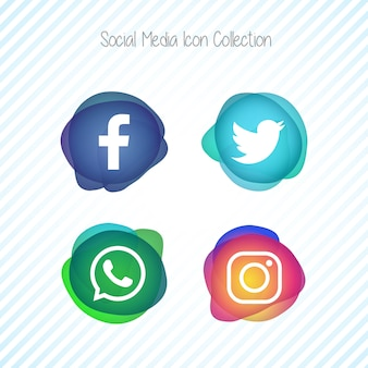 Creative memephis fluid social media icons set