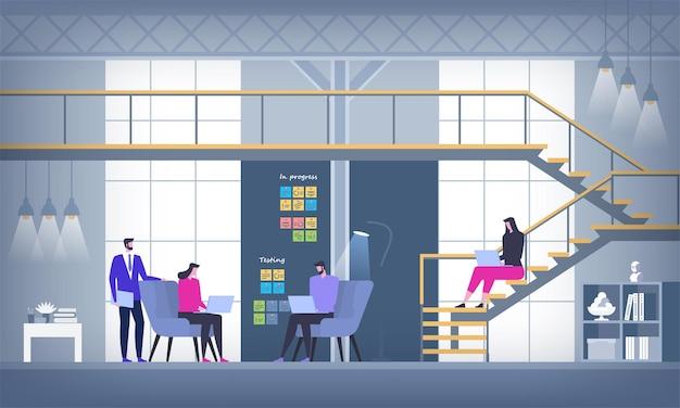 Creative office co-working center ambiente de trabalho compartilhado