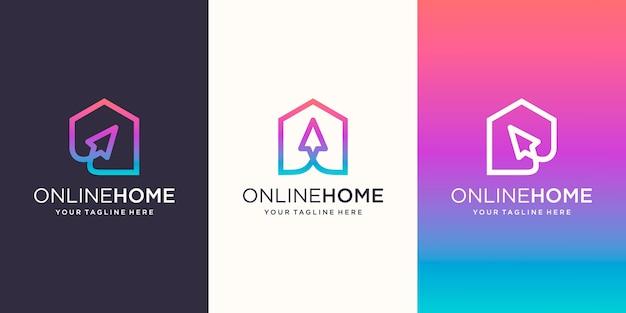 Creative online shop, home combinado com o cursor logo designs template,