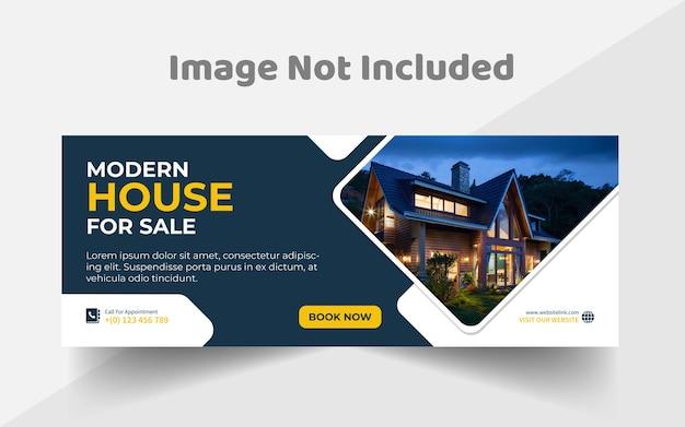 Creative real estate facebook cover design templat