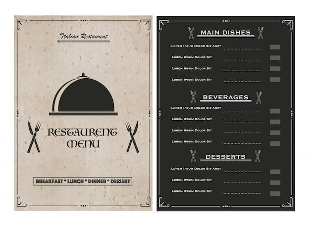 Creative restaurant menu card