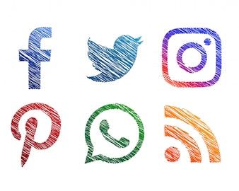 Creative scribble sketch style ícones de mídia social