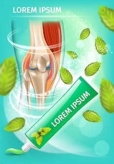 Creme anti artrite com banner promocional de hortelã