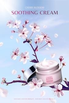 Creme calmante de flor de cerejeira em uma árvore sakura de tirar o fôlego, no fundo do céu azul
