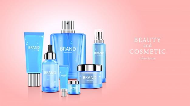 Creme cosmético de cuidados da pele de pacote de garrafa de luxo, cartaz de produtos cosméticos de beleza, com flores cor de rosa em fundo de cor rosa