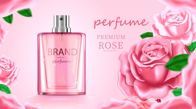 Creme cosmético de cuidados da pele de pacote de garrafa de luxo, cartaz de produtos cosméticos de beleza, com fundo rosa