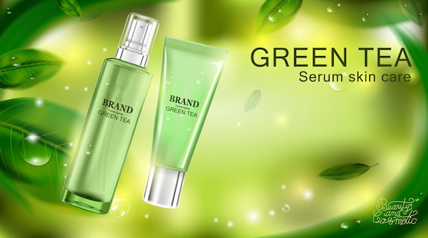 Creme cosmético luxuoso do cuidado de pele do pacote de garrafa. cartaz de produtos cosméticos de beleza.
