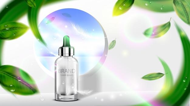 Creme cosmético luxuoso dos cuidados com a pele do pacote da garrafa com folhas