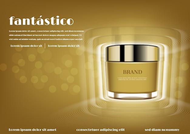 Creme cosmético ouro com efeito de luzes brilhantes