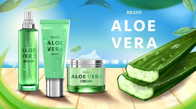 Creme cosmético para cuidados com a pele de pacote de garrafa de luxo, produto cosmético de beleza, com aloe vera