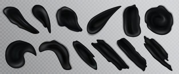 Creme de carvão ativado preto ou esfregaços realistas de argila vulcânica cosmética fluida de curso em fundo transparente.